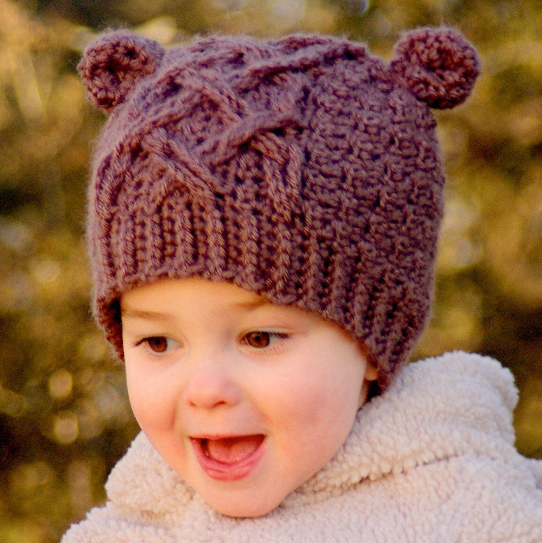 Crochet Hat Pattern Little Bear Cable Hat - Instant Download ...