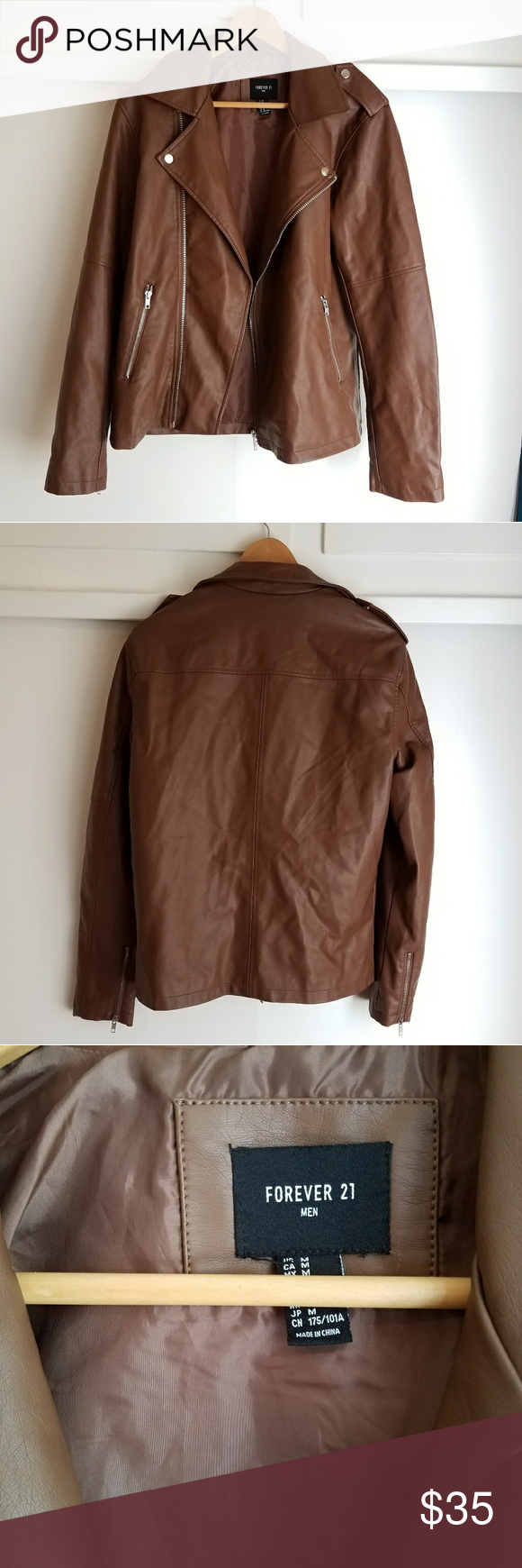 Men Forever 21 Moto Jacket Size Medium  Excellent Condition! Flawless Forever 21 Jackets & Coats