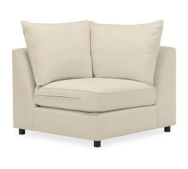 PB Comfort Upholstered Corner, Knife Edge Polyester Wrapped Cushions, Linen Oatmeal