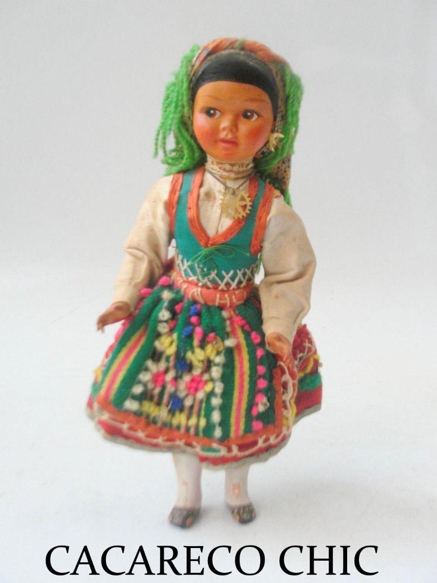 antiga boneca plastico duro traje tipico portugues cchic