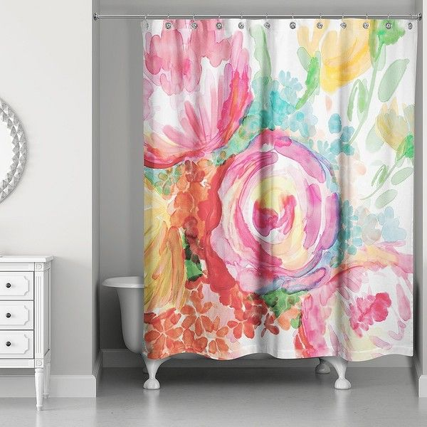 Bright Watercolor Florals Shower Curtain ($80) ❤ liked on ...
