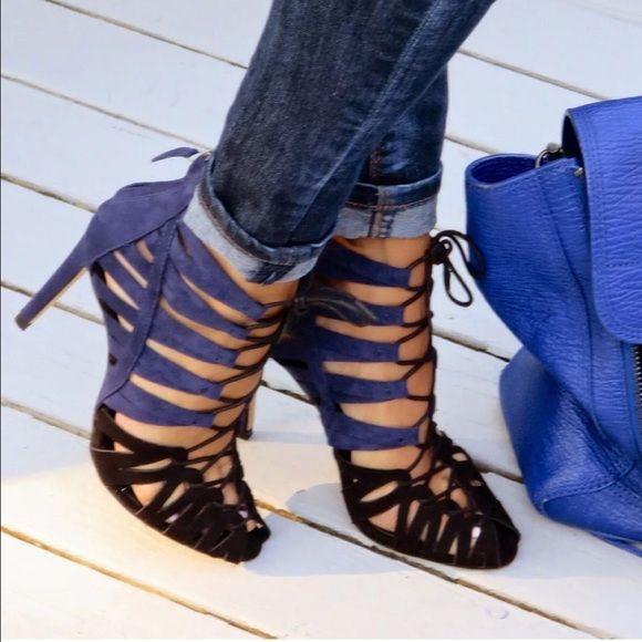2880a624f6bf Zara lace up strappy suede bootie sandal Zara lace up strappy suede blue  black bootie sandal. NWT! Sold out! Zara Shoes Sandals