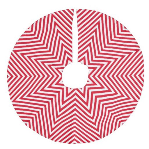 Red and White Zigzag Faux Linen Tree Skirt