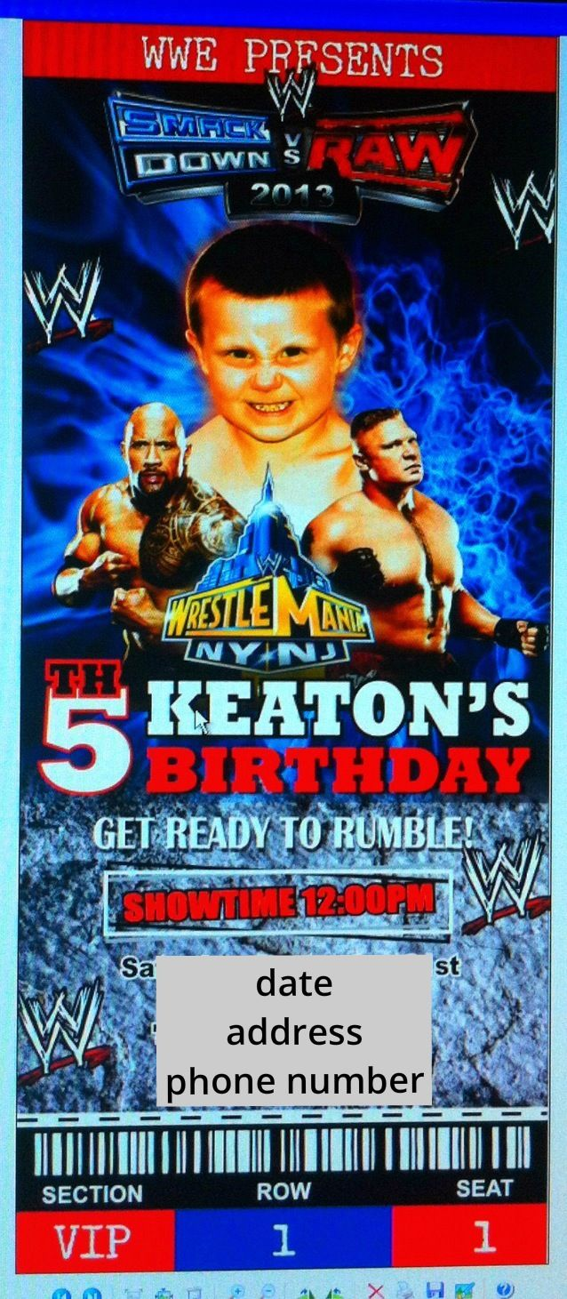 Wwe Birthday Invitation With My Sons Picture Incorporated With The