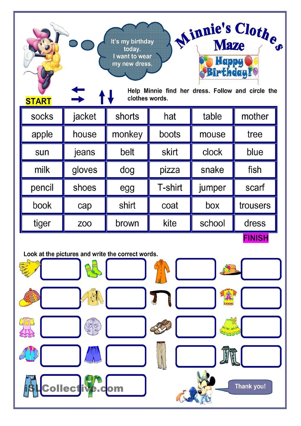 CLOTHES MAZE Worksheets, Clothes words, Vocabulary