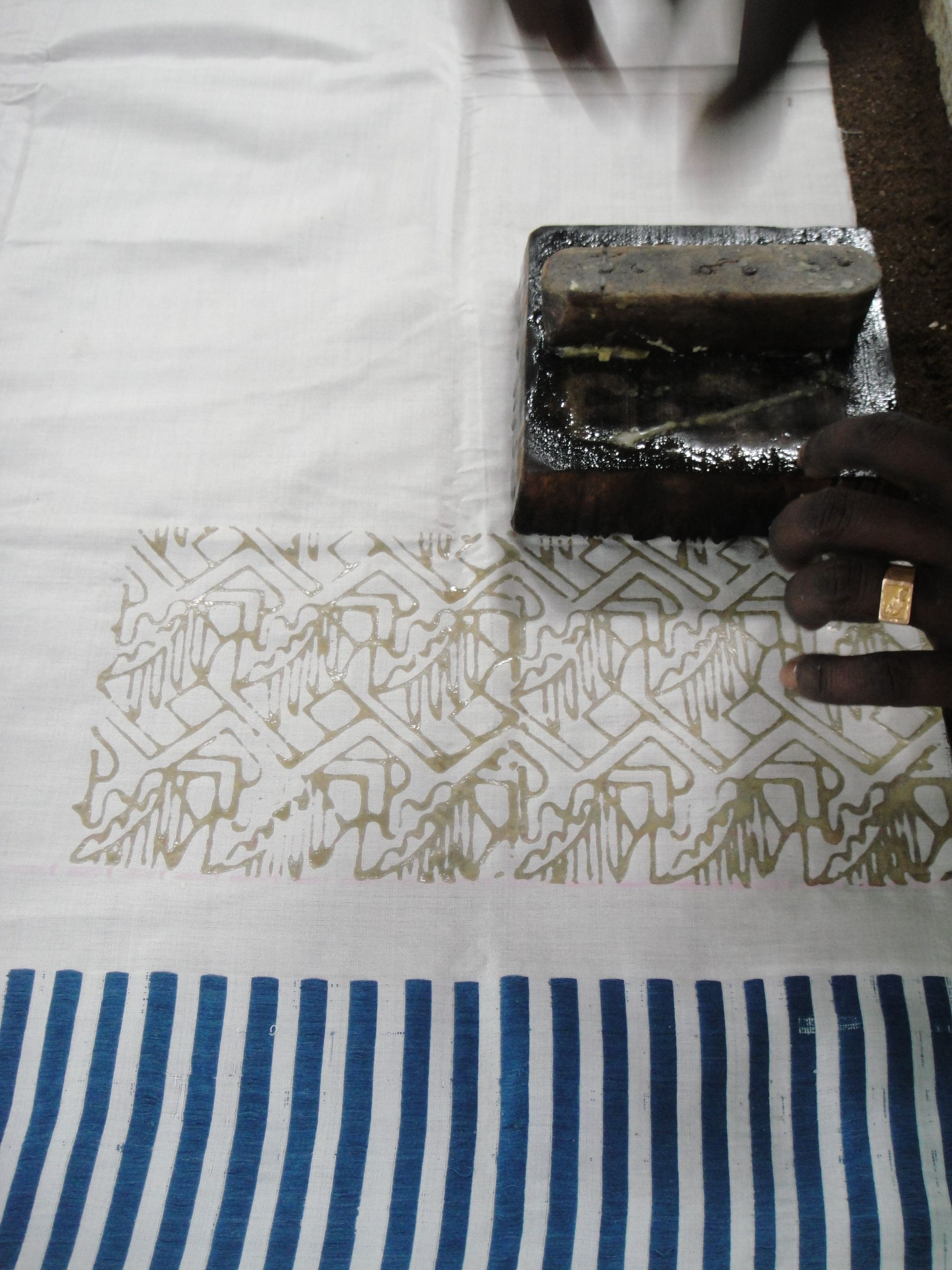 hand block printing on handwoven ahimsa silk sarees