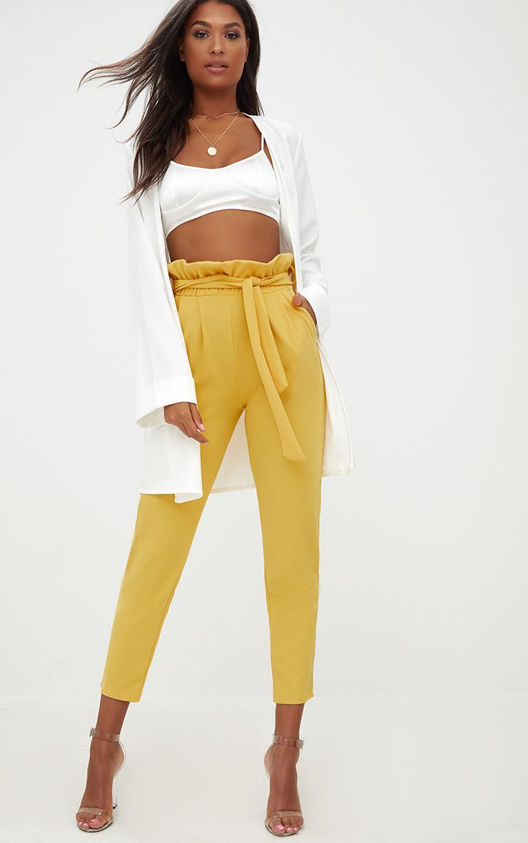 2be8fbfe5d5e68 Mustard Paperbag Slim Leg Trousers. Shop the range of Trousers today at  PrettyLittleThing; Express delivery available. Order now.