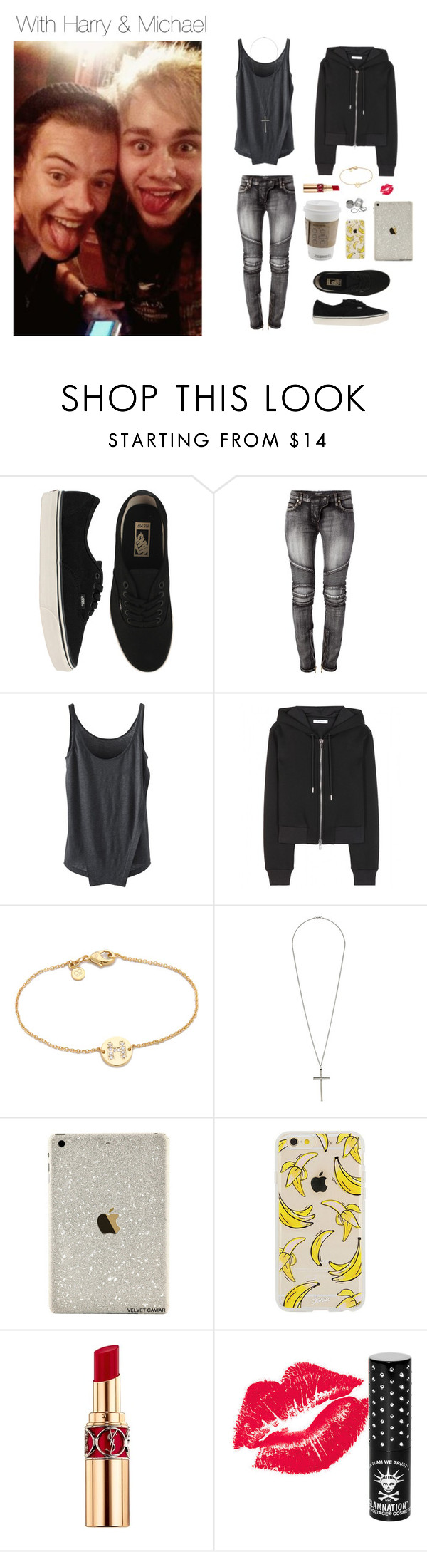 """""""With Harry and Michael"""" by kath-wolf ❤ liked on Polyvore featuring Vans, Balmain, Givenchy, Gorjana, Topshop, Yves Saint Laurent, Manic Panic and Pieces"""