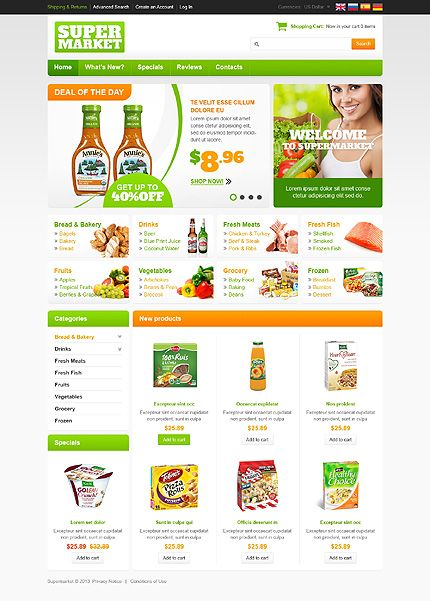 Premium OscommerceTemplates Design Designed For Food