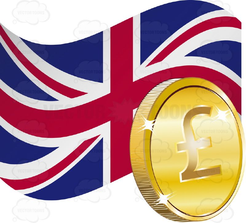 Flag Of The United Kingdom Union Jack With British Sterling Pound