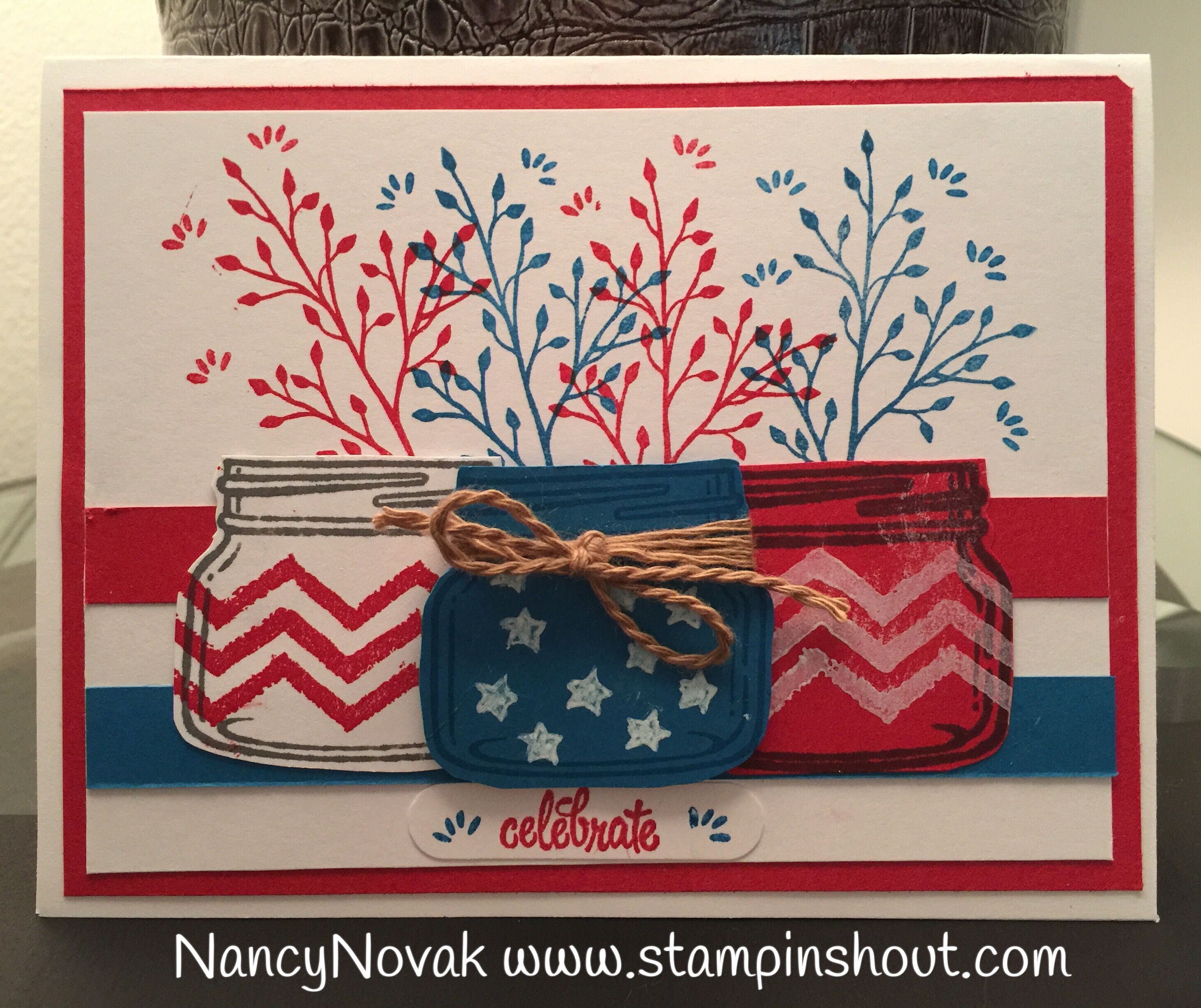 stampin up jar of love  4th of july card