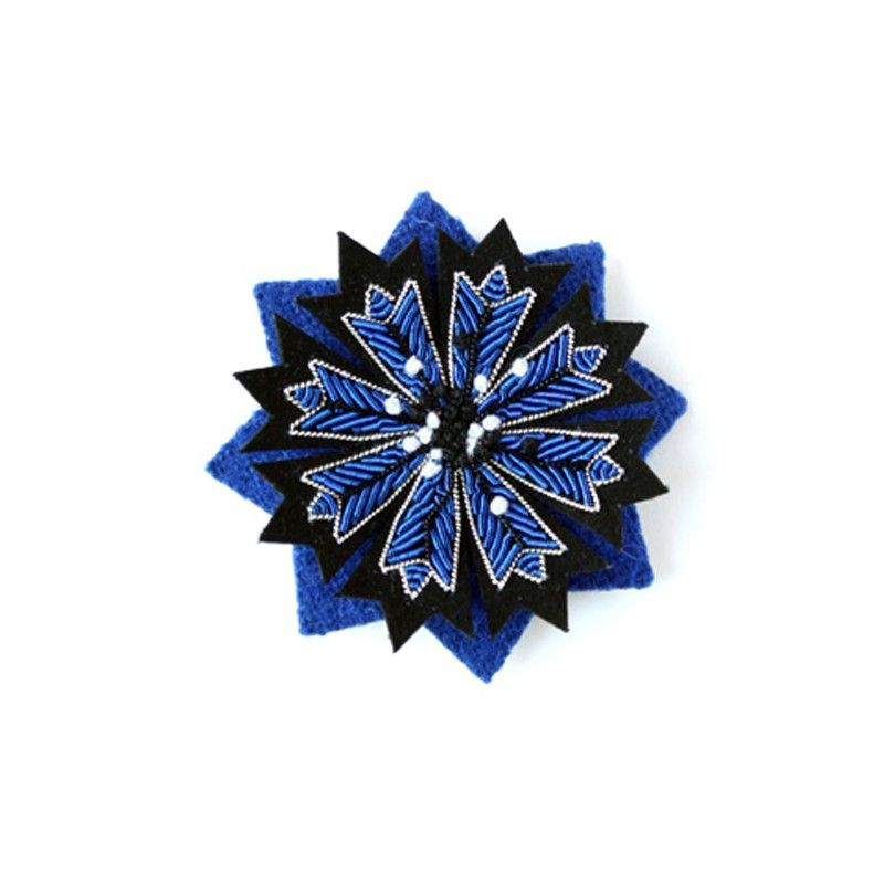 Hand Embroidered Ancre Brooch Blue Macon & Lesquoy 0UbOXNB