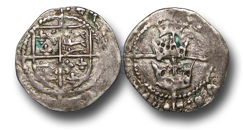 Early Three Crowns Issues (1485-1487) no mint name (Dublin), royal arms over long cross terminating in a trefoil of pellets, REX ANGLIE FRANCIE rev., three crowns over long cross terminating in a trefoil of pellets, DOMINVS HYBERNIE (S.6414)