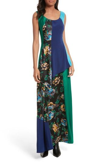 DIANE VON FURSTENBERG DOUBLE LAYER SILK MAXI DRESS ...