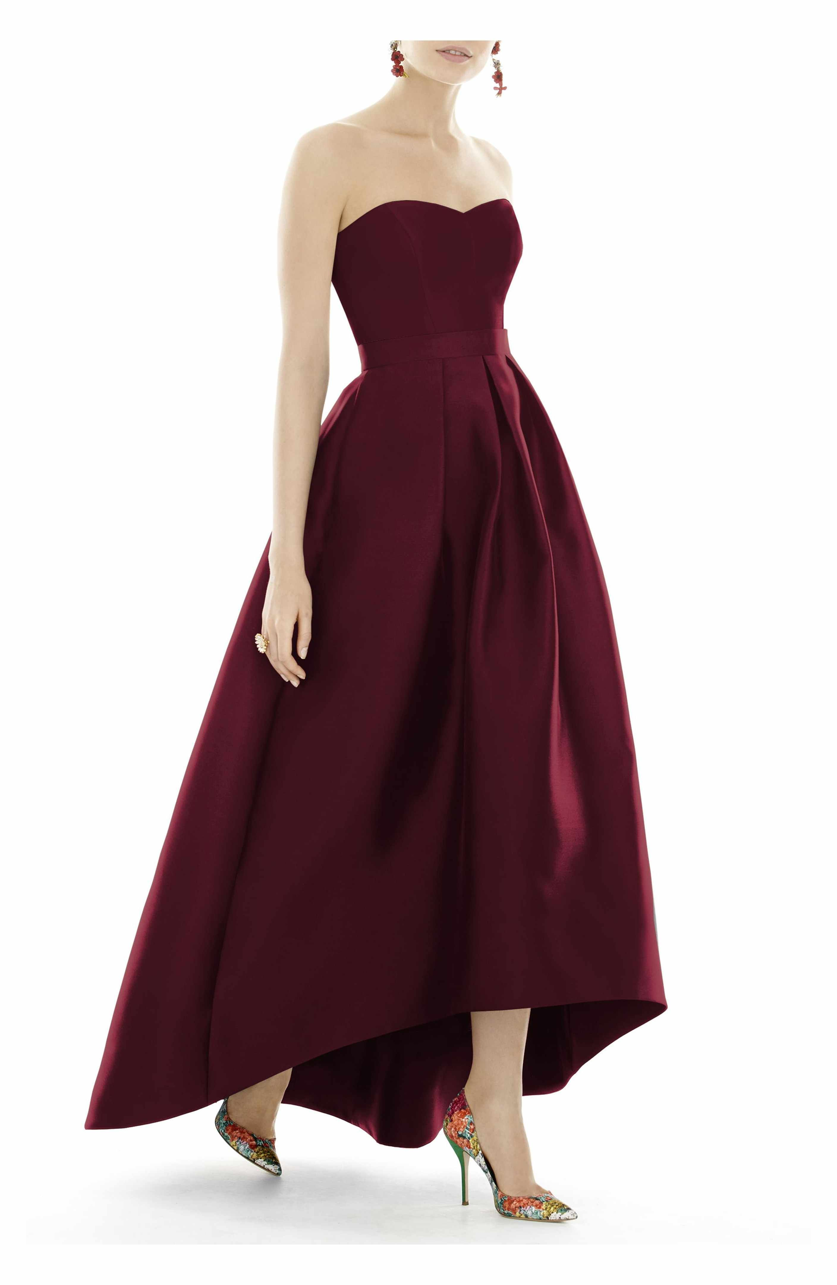 Main Image - Alfred Sung Strapless High/Low Sateen Twill Gown | Hmm ...