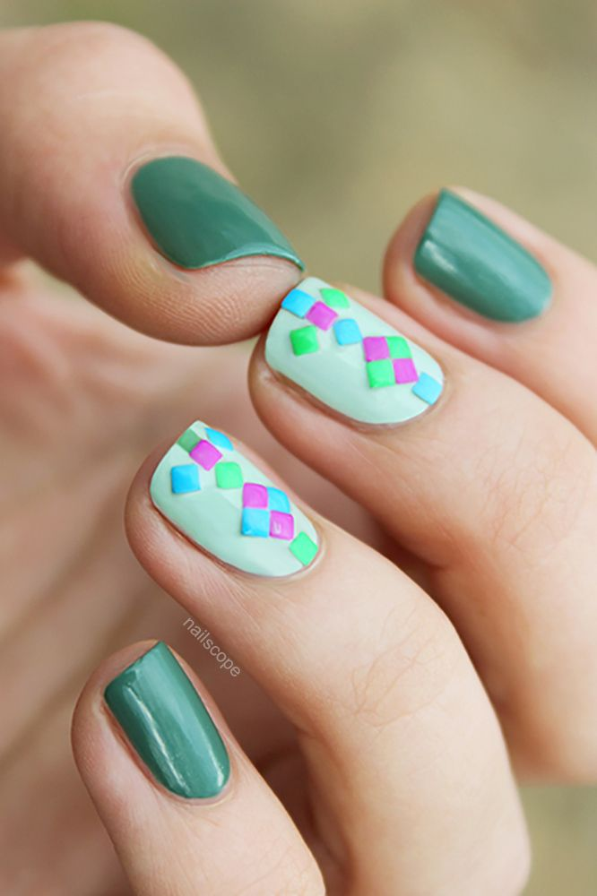 Geometric Stud Nail Art. Colourful studs are my favourite way to ...