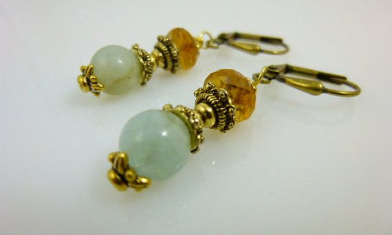 Aquamarine and Citrine Earrings GoldPlated by #EarthEnergyGemstones, $30.00 #jetteam #jewelryonetsy