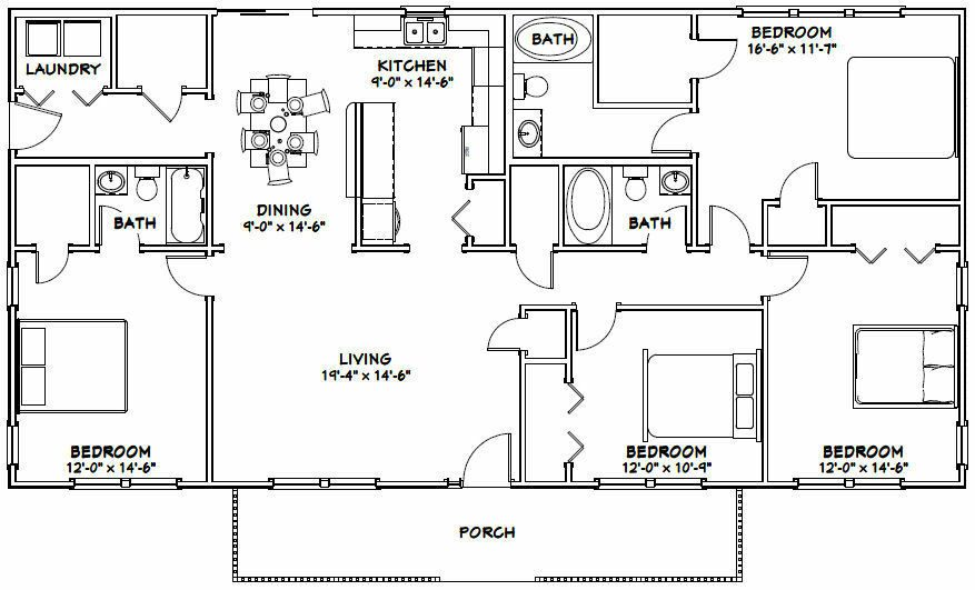 60x30 House 4 Bedroom 3 Bath 1 800 Sqft Pdf Floor Plan Model 2 29 99 Piccl Pole Barn House Plans Metal House Plans House Projects Architecture