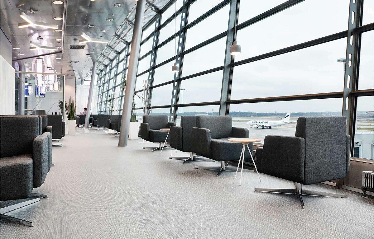 The Finnair Schengen Lounge at Helsinki Airport uses Bolon flooring