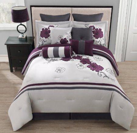 Amazon Com 10 Piece Queen Poppy Purple And Gray Comforter Set