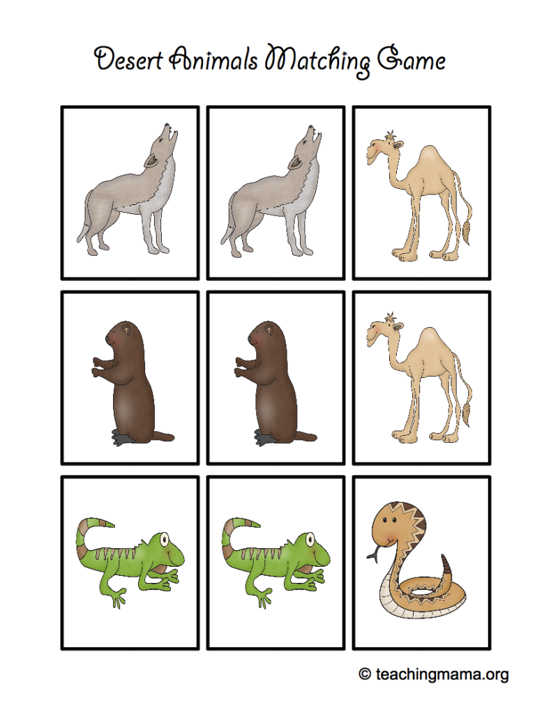 Desert Animal Printables Desert Animals Animal Matching Game Animal Printables