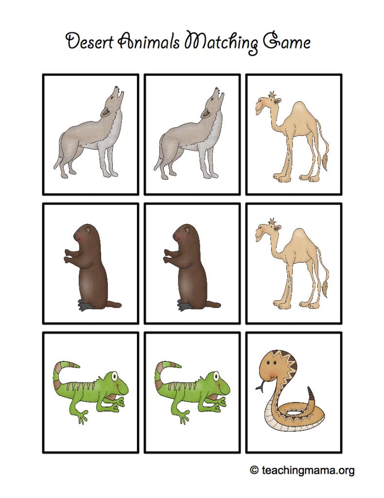 Desert Animal Printables Desert Animals Animal Matching Game Animal Printables [ 1024 x 790 Pixel ]