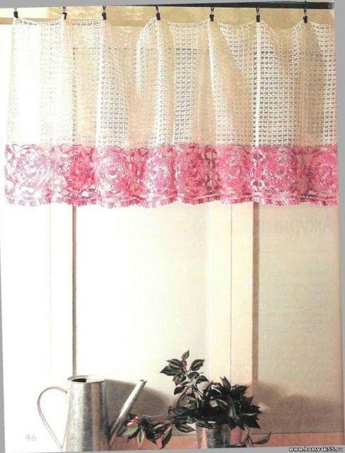Uma Cortina Linda e Delicada!   crochê   Pinterest   Cortinas ...