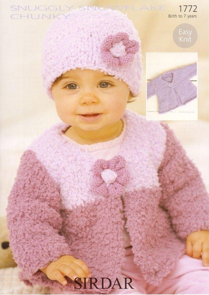 Sirdar Baby Cardigans & Hat Snowflake Knitting Pattern 1772 Chunky ...