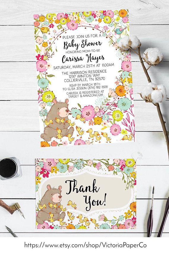 Bear and Duckling Baby Shower Invitations | Spring baby shower ...