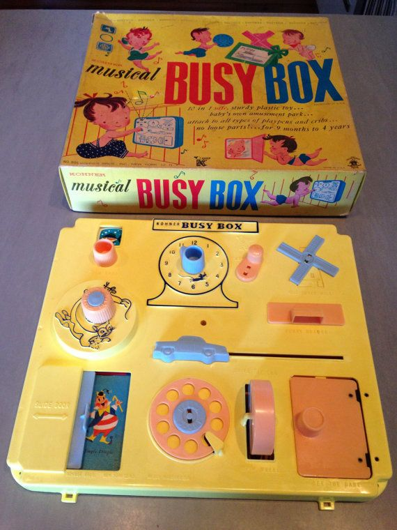 Vintage Kohner Musical Busy Box Crib Toy With Original Box Never