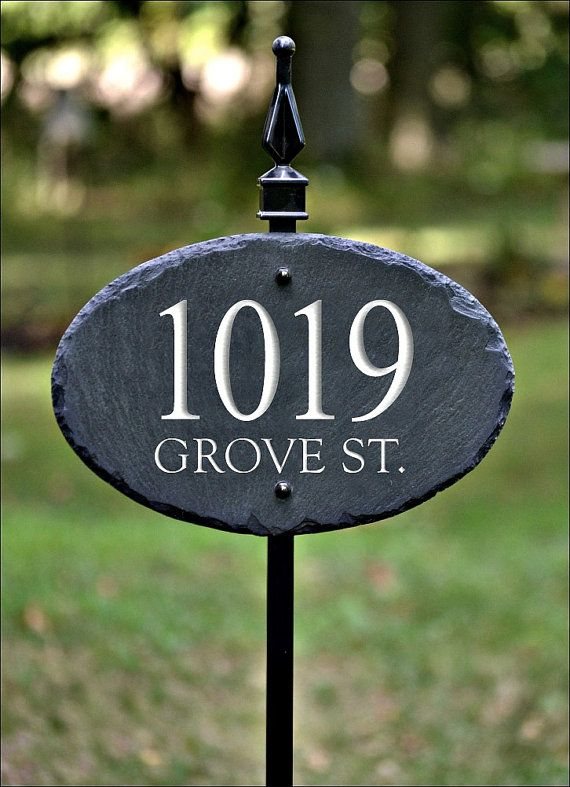 decorative driveway markers.htm slate address marker sign   carved numbers   with lawn yard  slate address marker sign   carved