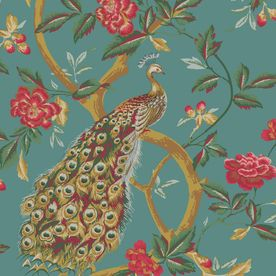 Shand Kydd Blue Strippable Paper Prepasted Wallpaper