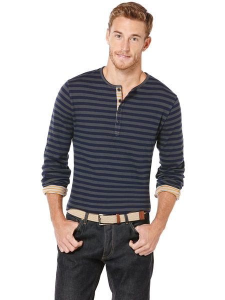 Cotton Stripe Henley Knit Shirt