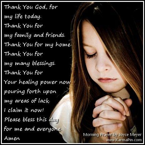 Joyce Meyer Quotes | Karma Pin: Gratitude   Morning Prayer By Joyce Meyer
