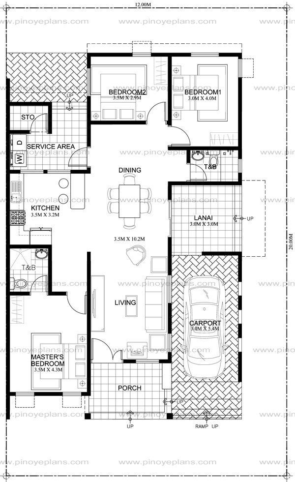 Arcilla Three Bedroom One Storey Modern House Shd 2016026 Pinoy Eplans Bungalow Floor Plans One Storey House Home Design Floor Plans