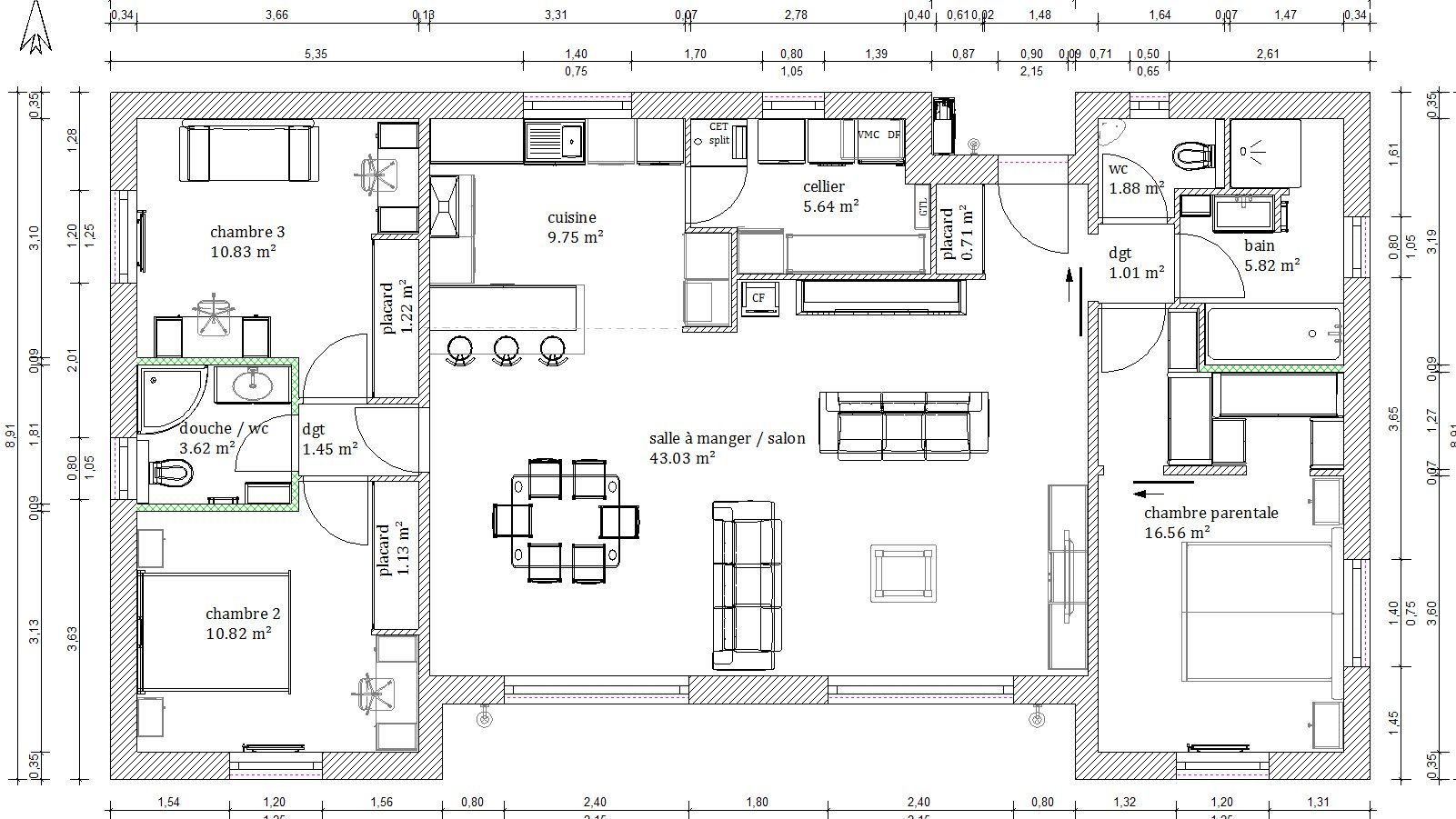 Plan maison 4 chambres 130m2 plans pinterest plans for Plan de maison de 120m2 avec garage