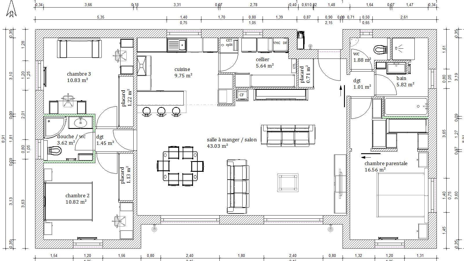 Plan Maison 4 Chambres 130m2 Plan Maison Plain Pied Plan Maison