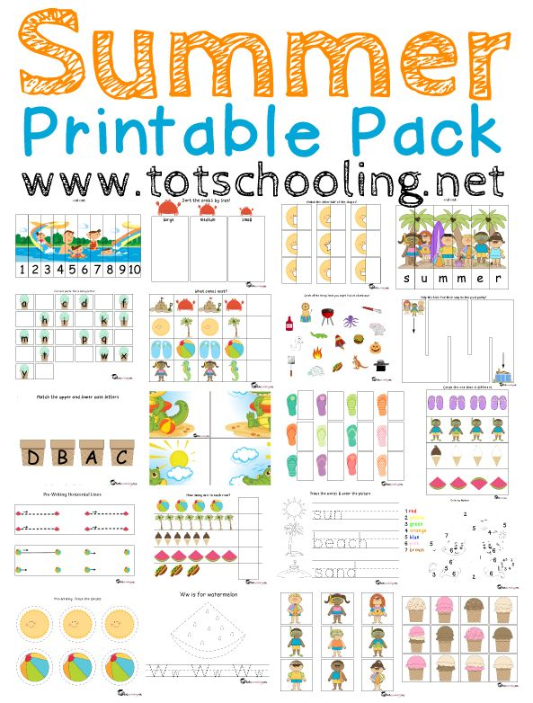 Free Summer Printable Pack For Toddlers Prek With Images