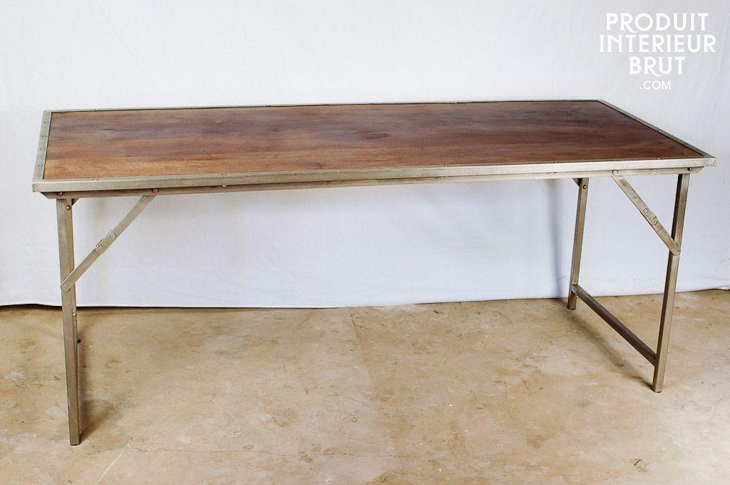 table bois metal pliante tremy