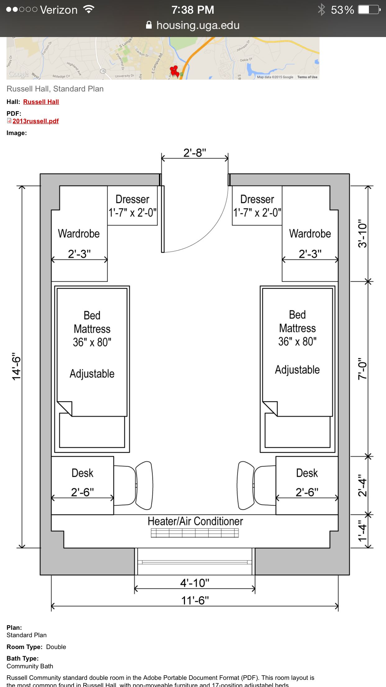 Dorm Room Plans: UGA Russell Hall Floor Plan