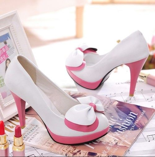 Women's Sexy elegant Vogue Platform Pumps double Butterfly knot High Heels Shoes