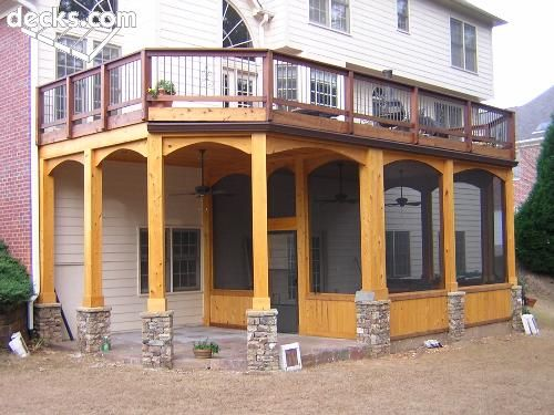 Screened porch under deck stone on pillars cool stuff for Under porch ideas