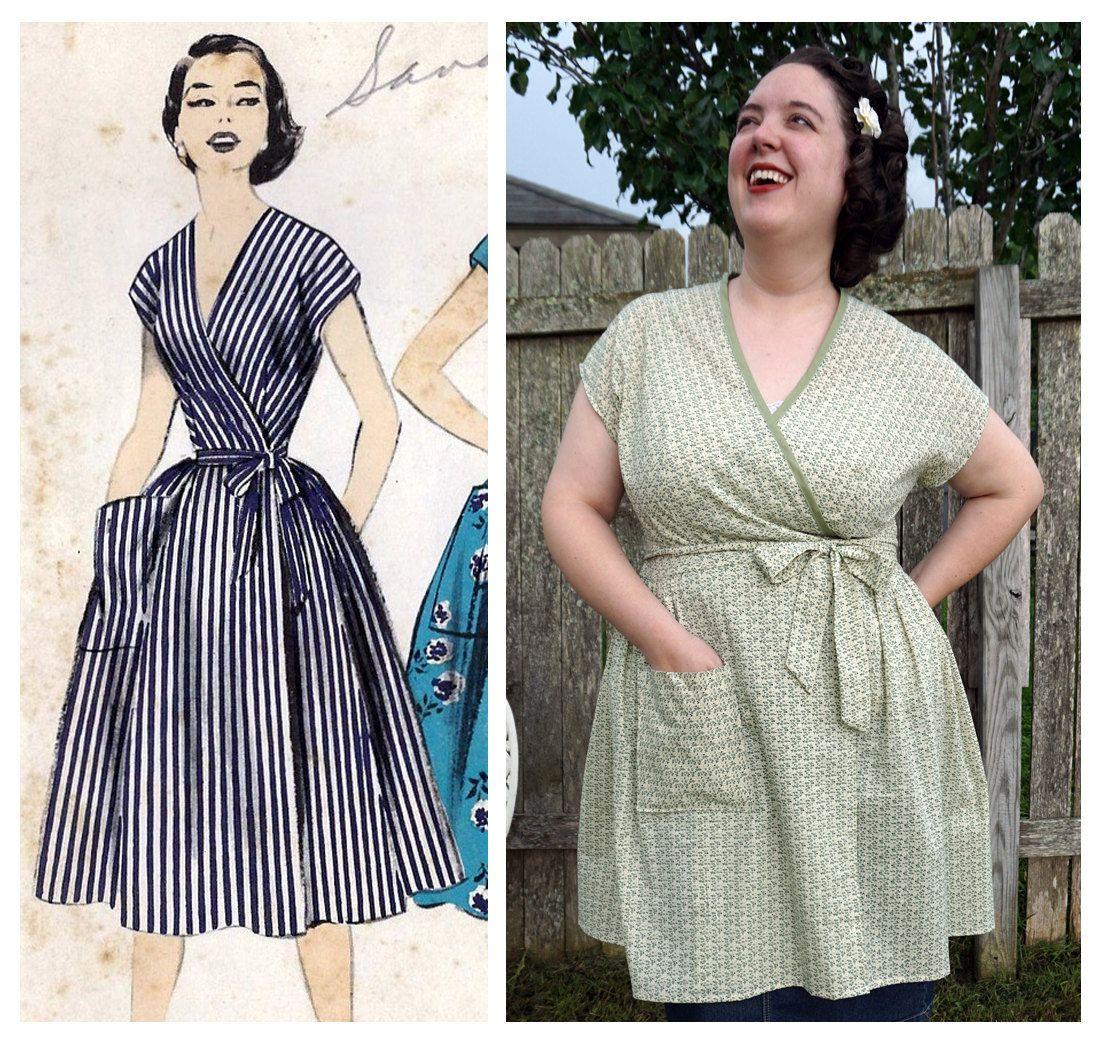 Retro Inspired Wrap Dress Housedress Green Floral Xl Etsy House Dress Wrap Dress Dresses [ 1042 x 1100 Pixel ]