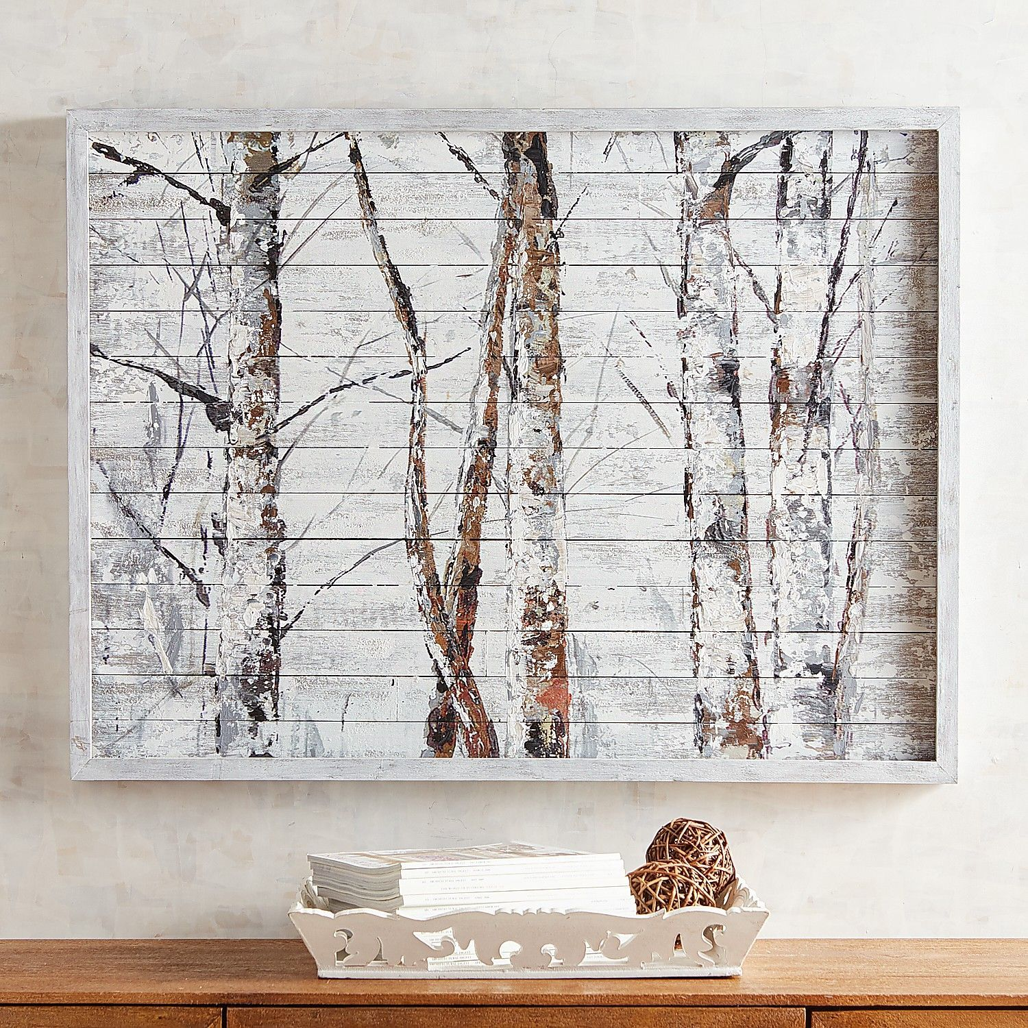 Birch tree planked wall decor pier 1 imports nature