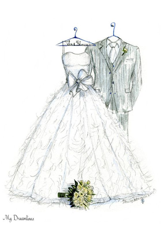 Wedding Dress Tux Bouquet Sketch Paper Anniversary Gifts