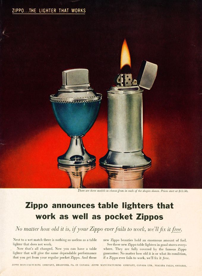 Vintage Zippo Table Lighter Advertisement From 1960 Zippo Lighter Lighter Vintage Ads