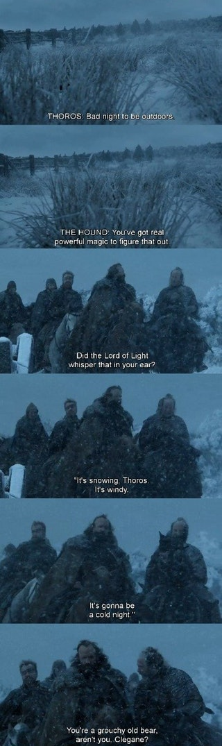 [S7E1] The Hound is my favorite character : gameofthrones