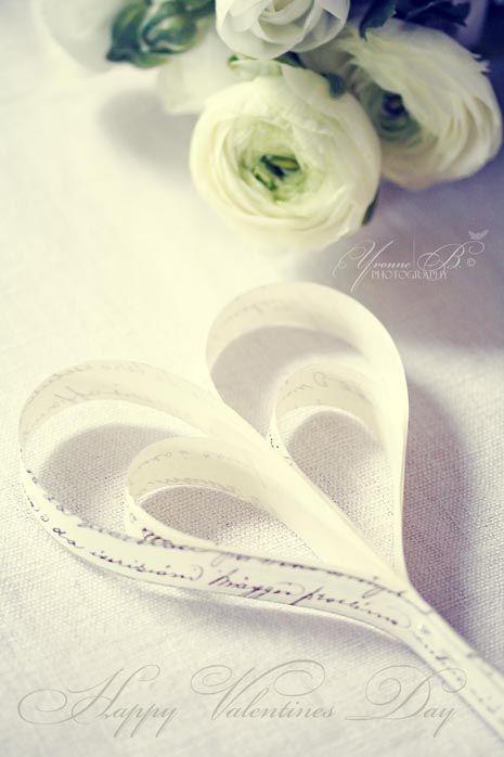 white ranunculus & paper hearts...