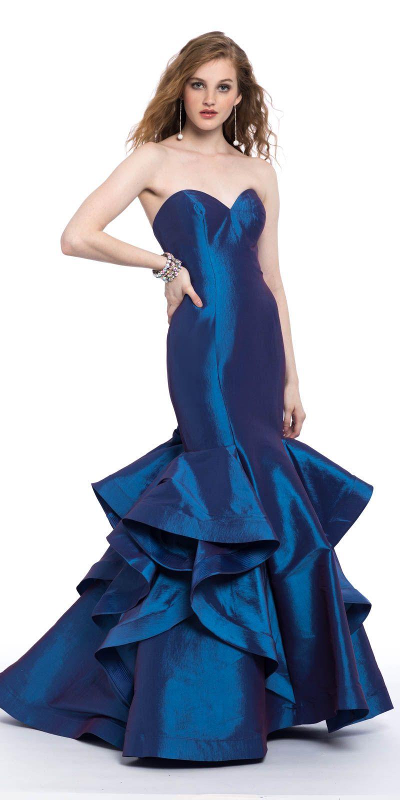 Taffeta Strapless Tiered Ruffle Hem Dress Stylish Prom Dress Dresses Strapless Dress Formal [ 1600 x 800 Pixel ]