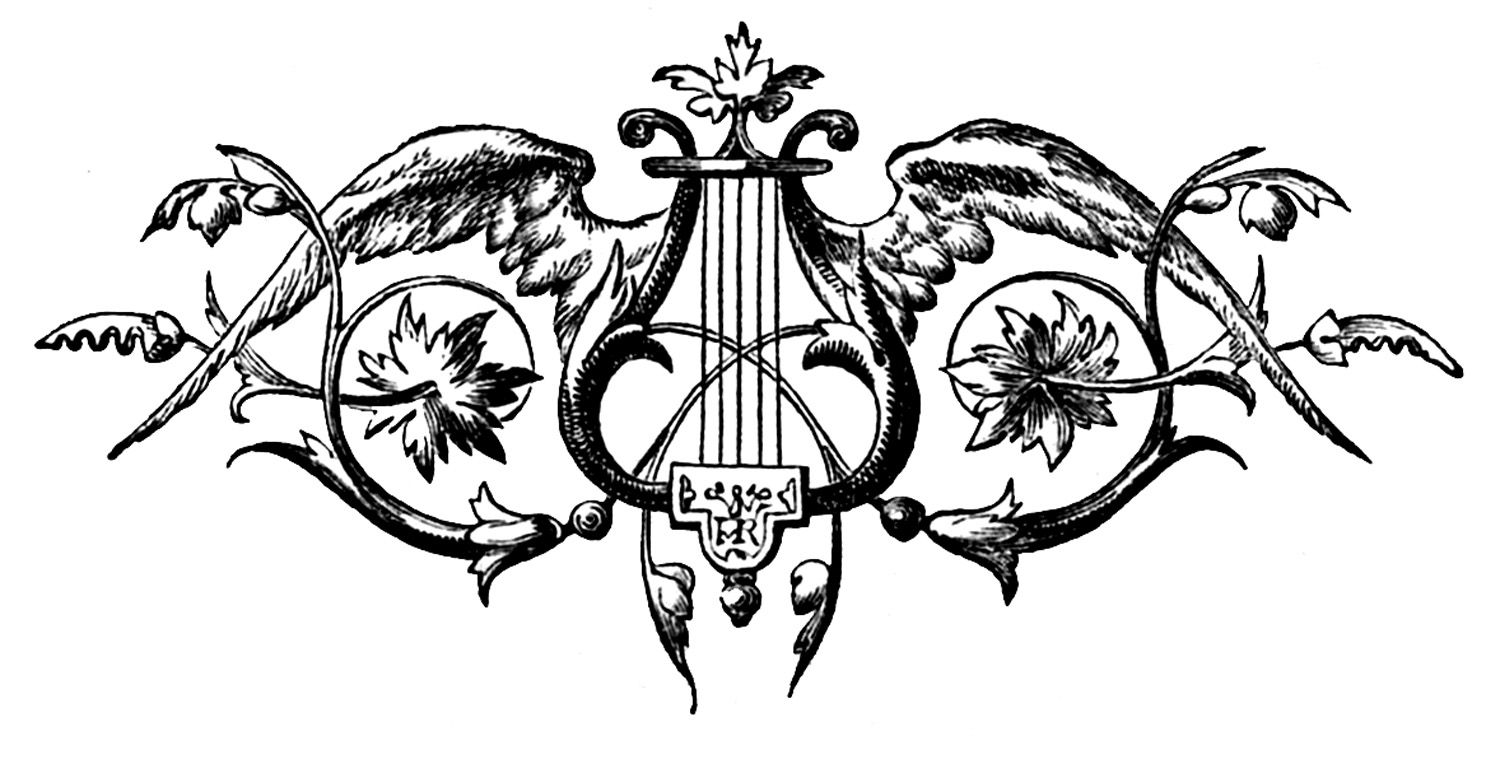 Vintage Clip Art - Printers Ornament - Harp with Wings